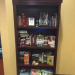 Game and book library in lobby. You can even keep a book if you weren't able to finish it during