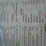 Photo of menu from Molly's