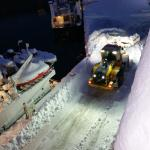 Snow clearing outside our hotel...