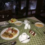 Crepes cooked to order for breakfast, monkey outside