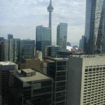 South facing rooms are quieter and we could even glimpse the CN Tower from our room