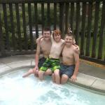 Part of my family enjoying hot tub area