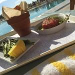 The Tuna Tartare and asparagus by the pool are always good bets.