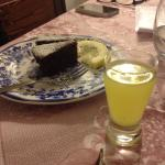 Homemade limoncello at dinner