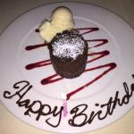 Complimentary birthday dessert - chocolate soufflé. Seriously to die for!
