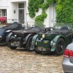 Classic cars in courtyard
