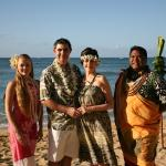 Another Vow Renewal photo with our Minister and Hawaiian dancer.  Just a perfect thing to do if