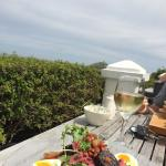 Lunch on the terrace overlooking the bay