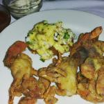 Soft shell crab (petite) and fried green tomato with crabmeat and crawfish...