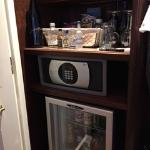 Mini bar and safe in closet