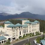 Rainbow over a portion of the hotel.