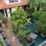 View down to pool area from balcony of Rooftop Garden Suite (Room 342)