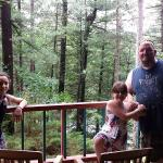 My husband and daughters on our balcony