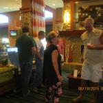 Gathering with friends in the lobby, morning hours.  Getting ready for a day on the farm.