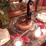 Cake with rose petals and more candles