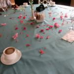On our final morning they decorated our table with fresh flowers. Very special.