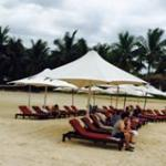 The private beach at the Crimson Resport