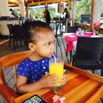 Bree enjoying her natural Juice in the restaurant