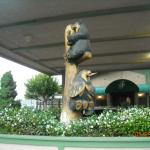 Cute animal statues in front of hotel