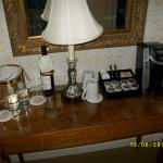 Coffee station and ice bucket at room entrance