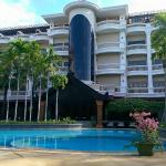 View of hotel from opposite side of pool