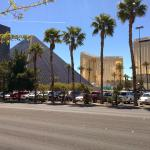 View of the Luxor from outside, showing Mandalay bay in background