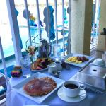 LOVED the table setting for breakfast on our balcony