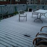 Snowing at FunFunStay's terrace