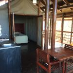 Washing, dining & sleeping areas at the tented camp