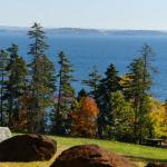 View of lawn & Penobscot Bay from rear balcony