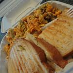 Chicken pesto panini with spicy pasta salad