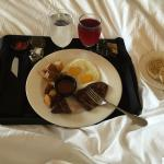 Steak and Eggs for breakfast Ehhhh coffee in room 6 pillowed bed