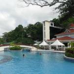 pool near the private beach (glass elevator in background)
