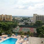 View from my room of the tennis courts and pool