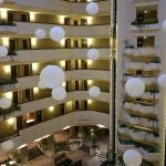 The enclosed central area of the hotel upon which all rooms are accessed