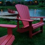 Adirondack chairs scattered around the property.