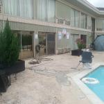 Nasty pool area w/yelling contradicting signs.
