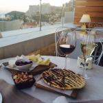 Drinks and snacks at the roof top bar. An amazing View of the Acropolis. GORGEOUS!!!