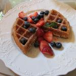 Vegan waffle on July 4th with patriotic fruit