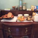 Full English breakfast to come, but here are the starters, fresh-baked bread, ginger bread, and