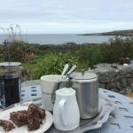 Tea with treats on the back porch just as we arrived at the Man of Aran