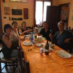 Sharing a meal with our hosts, Marzia and Fiore