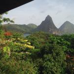 Pitons and bay at Soufrier from our room 7D