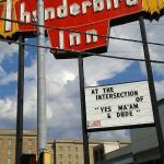 View of Thunderbird sign, from across the street