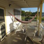 Relaxing chairs and hammocks on the veranda
