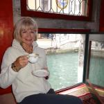 Just Arrived Via Water Taxi & Enjoying a Cappucino