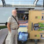 Departing Nice Airport with loaded trolley wheeled from IBis Budget Nice Aeroport Hotel