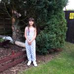 grand-daughter in hotel garden
