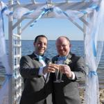 A picture from our wedding on Surfside's private beach.