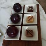 Complimentary plums and truffles